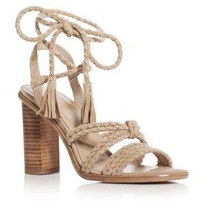 Joie Banji Nude Block Heel All Leather Sandals